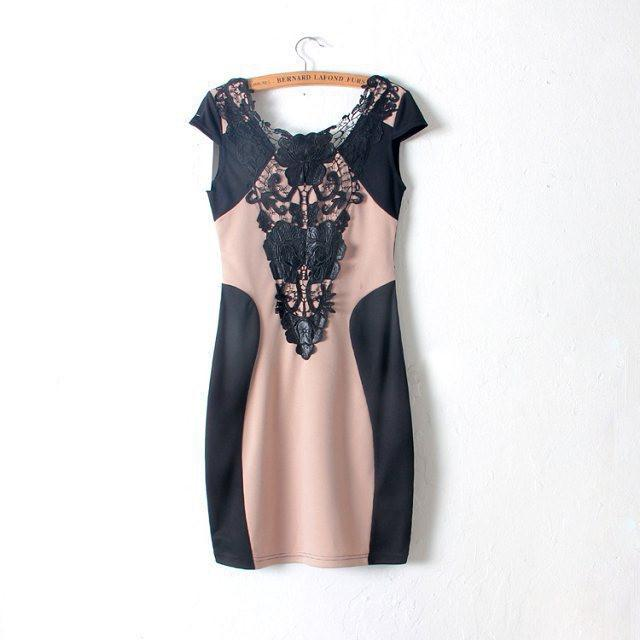 Fashion New European Women Sexy Slim Lace Dress Short Sleeve nightclub tight round neck Summer dresses Tops-Dress-SheSimplyShops