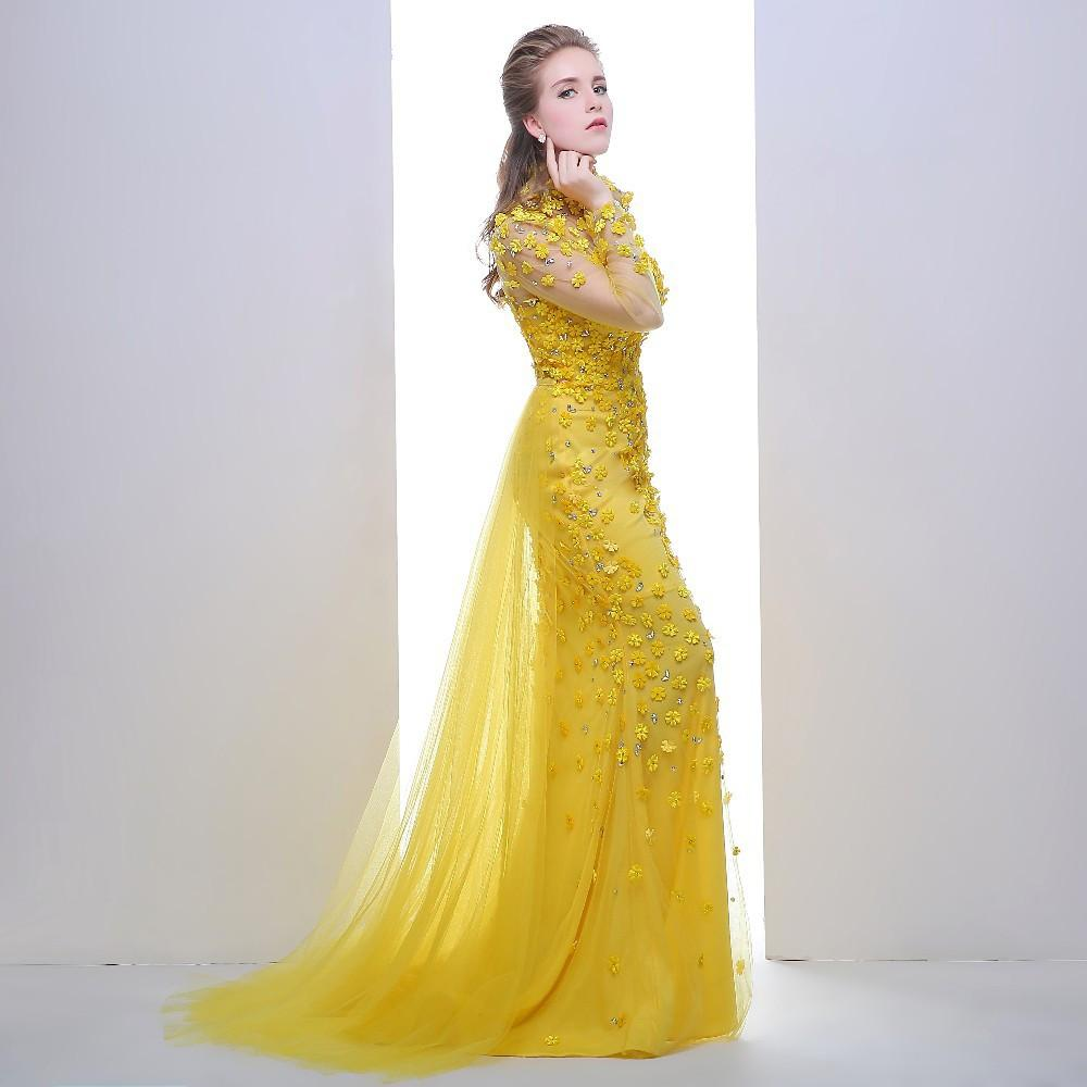 Prom Dress Yellow High Neck Long Sleeves See Through Back Beading with Flowers Formal Evening Dress-Dress-SheSimplyShops
