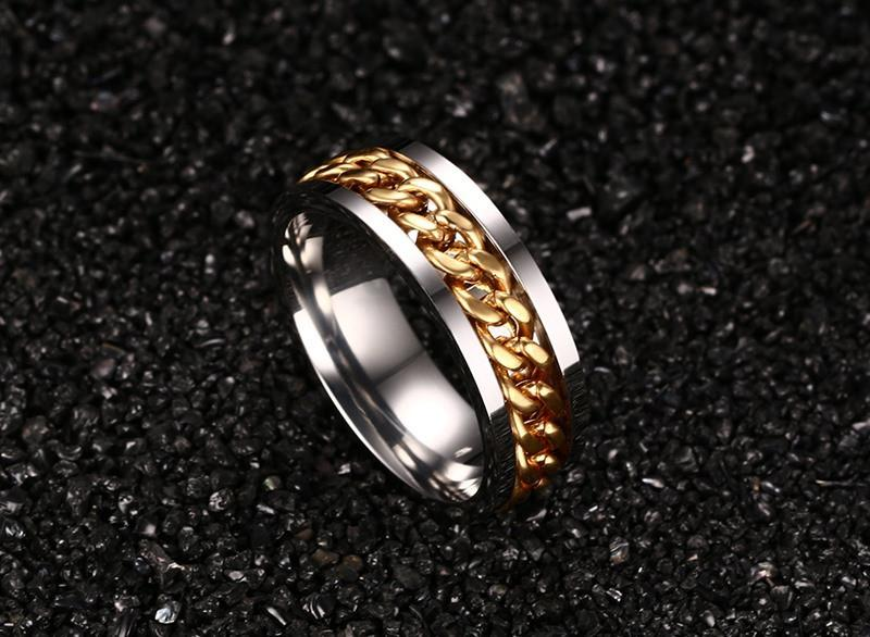Fashion Spinner Black Chain Ring For Men Stainless Steel Wedding Mens Ring Cool Jewelry-JEWELRY-SheSimplyShops