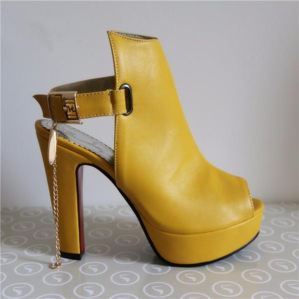 Promotion Novelty Shoes Women Pumps Spring Peep Toe Gladiator Chunky High Heels Platform Female Chains Sequined Yellow-SHOES-SheSimplyShops