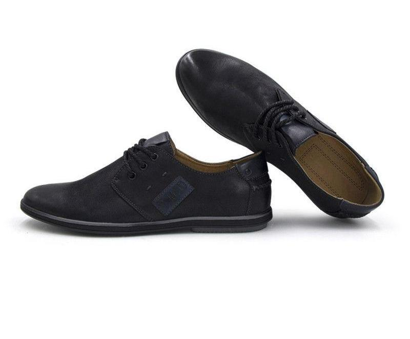 Casual Shoes Lace-up Black Men Flats Shoes Business Shoes-Dress-SheSimplyShops