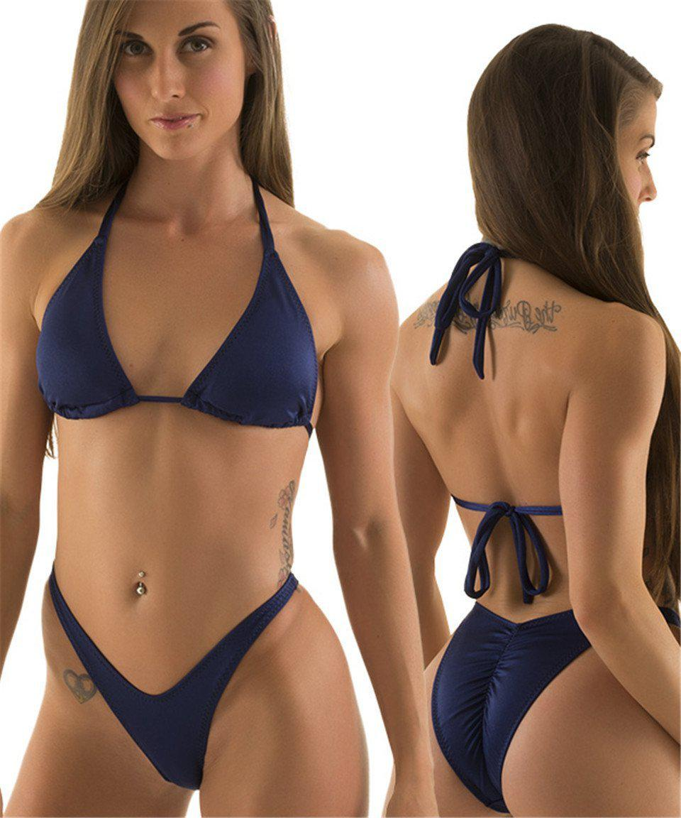 Sexy Strapless Bikini Set Women Micro Swimwear Thong Bottom Solid Halter Swimsuit Padded Bathing Suit-Bottoms-SheSimplyShops