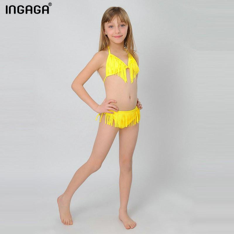 New Little Girls Swimsuits Tassel Bikinis Set Child Swimwear Swim Bathing Suits-Bottoms-SheSimplyShops