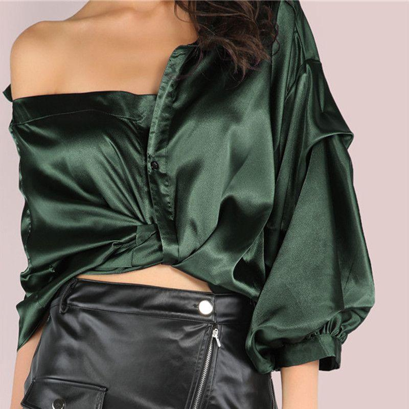 Clothes Women Casual Shirts Tops Korean Fashion Clothing Green Half Sleeve One Shoulder Wrap Around Button Down Top-SHIRTS-SheSimplyShops