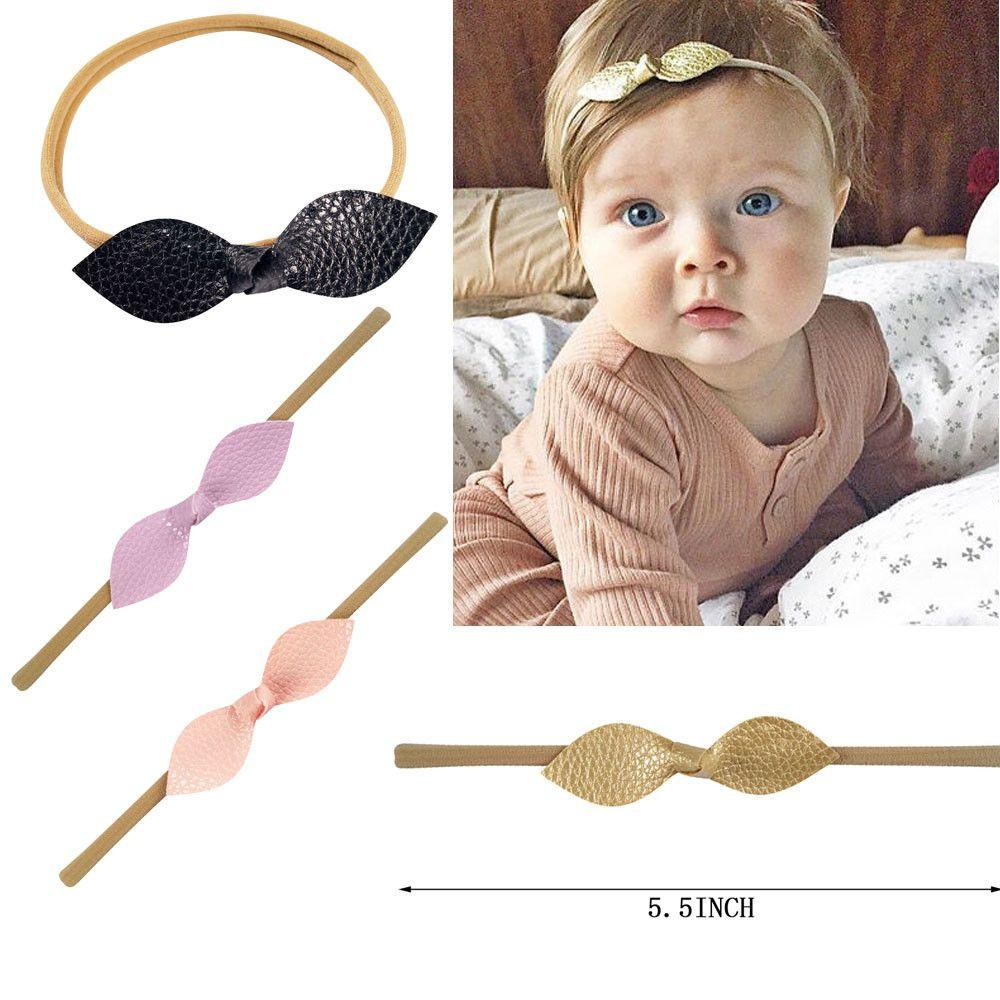 10pcs lot Baby Nylon Headbands Top Knot Bow Headband Leather knot bows Headbands Baby Hair Accessories-Tops-SheSimplyShops