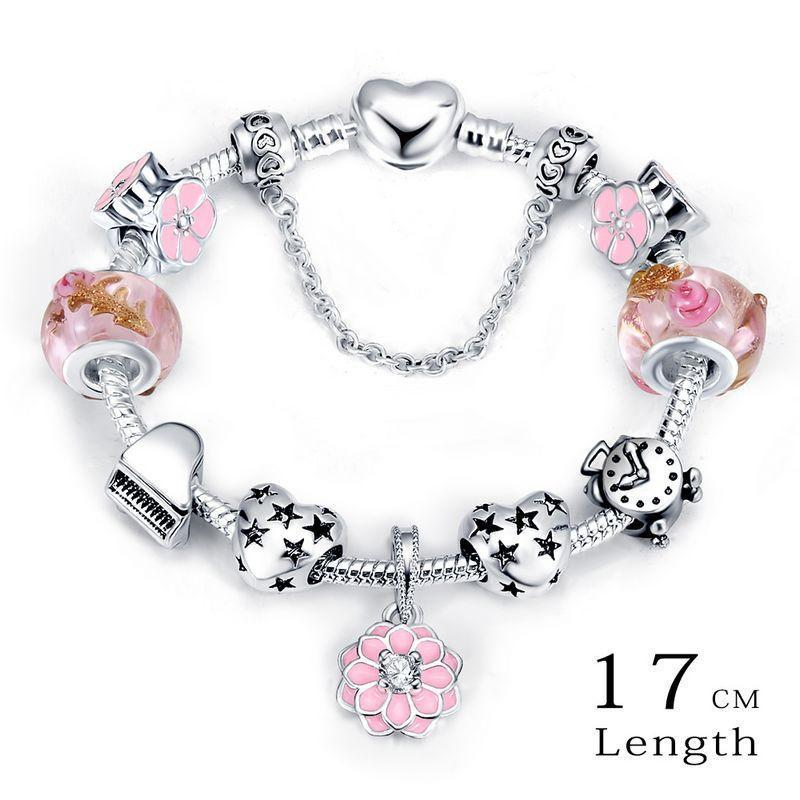 LZESHINE Christmas Flower Charms Bracelets & Bangles Antique Silver Plate Snake Chain Glass Beads Bracelets fit European Jewelry-BRACELETS-SheSimplyShops