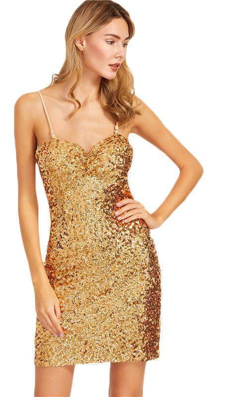 COLROVIE Sexy Club Dresses New Arrival Sexy Mini Dresses Gold Sequin Spaghetti Strap Sleeveless Sheath Slip Dress-Dress-SheSimplyShops