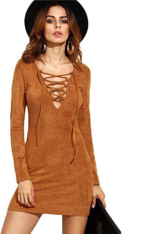 COLROVIE Camel Faux Suede Lace Up V Neck Bodycon Dress New Style Plunge Long Sleeve Sexy Mini Dress-Dress-SheSimplyShops