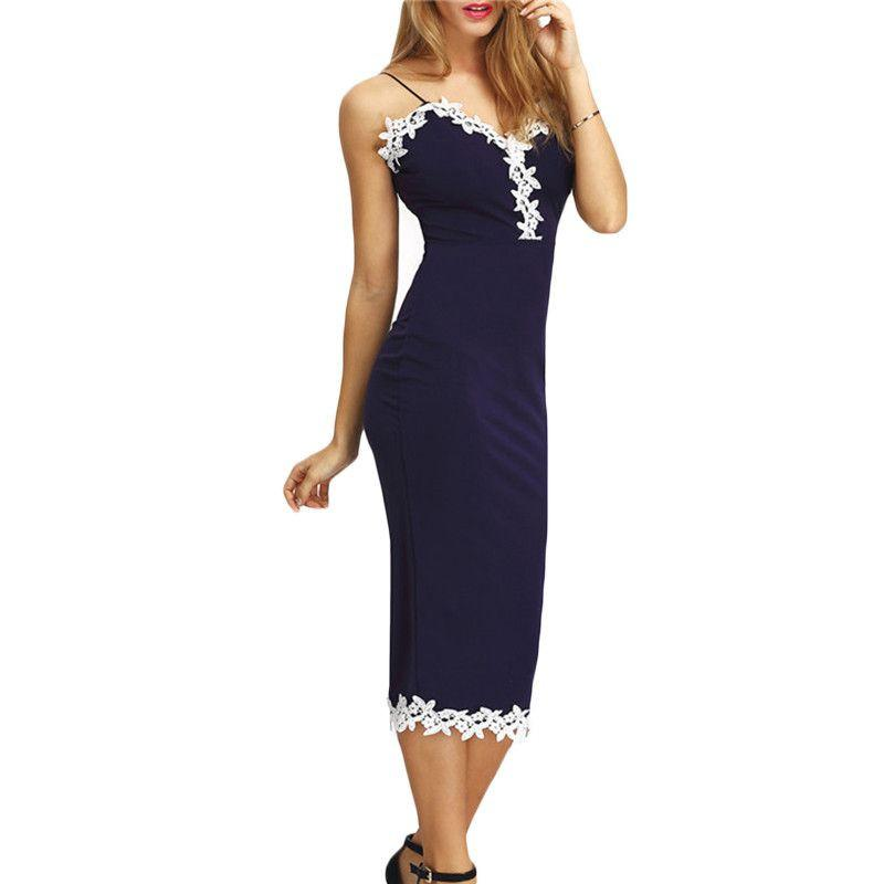 COLROVIE Women Navy Contrast Lace Split Back Sheath Midi Bodycon Dresses Spaghetti Stripe Summer Sexy Fitness Pencil Dress-Dress-SheSimplyShops