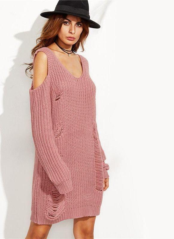 COLROVIE Pink V Neck Cold Shoulder Ripped Sweater Dress Autumn Female Long Sleeve Shift Mini Dress-Dress-SheSimplyShops