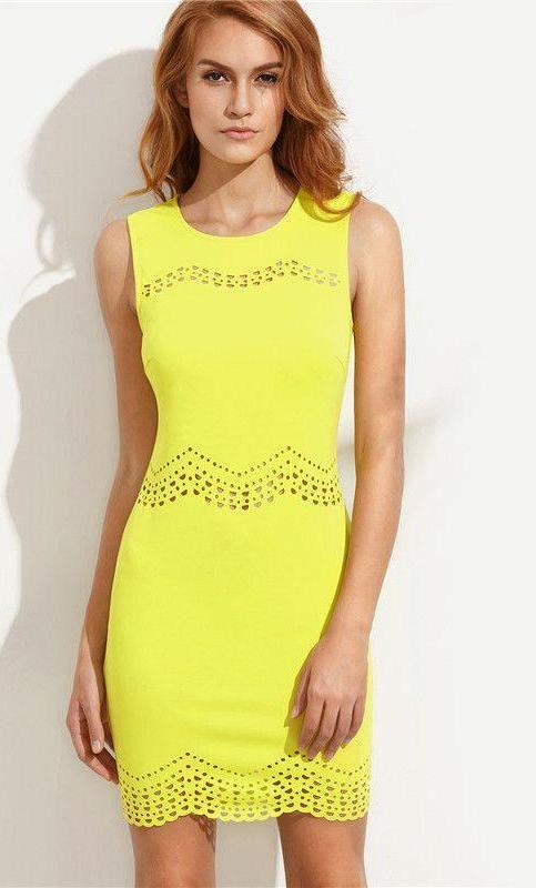 COLROVIE Summer Sexy Women's Plain Yellow Cutout Sleeveless Round Neck Sheath Mini Dress Club Wear Bodycon Dress-Dress-SheSimplyShops