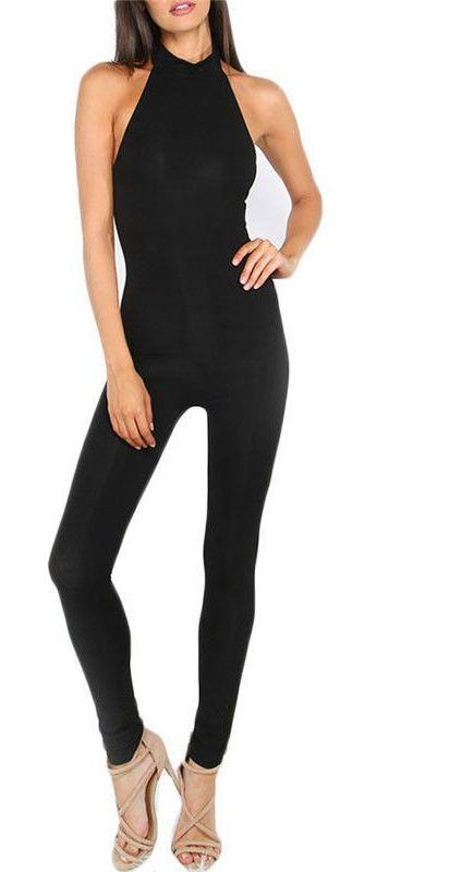 COLROVIE Female Newest Plain Black Slim Clothing Summer Sleeveless Round Neck Backless Sexy Sheath Jumpsuit-ROMPERS & JUMPSUITS-SheSimplyShops