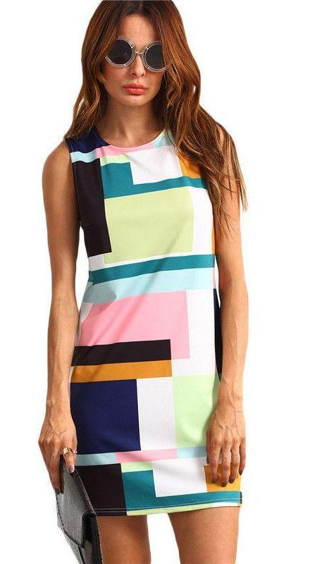 COLROVIE Color Block Sleeveless Round Neck Zipper Back Bodycon Mini Dress Office Ladies Patchwork Short Dress-Dress-SheSimplyShops