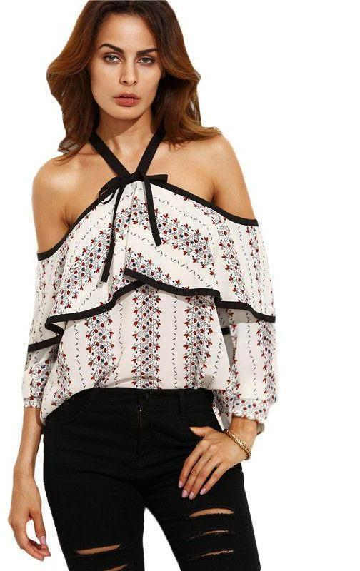 COLROVIE Multicolor Print Cold Shoulder Bow Long Sleeve Shirt Summer New Style Women with Ruffles Blouse-Blouse-SheSimplyShops