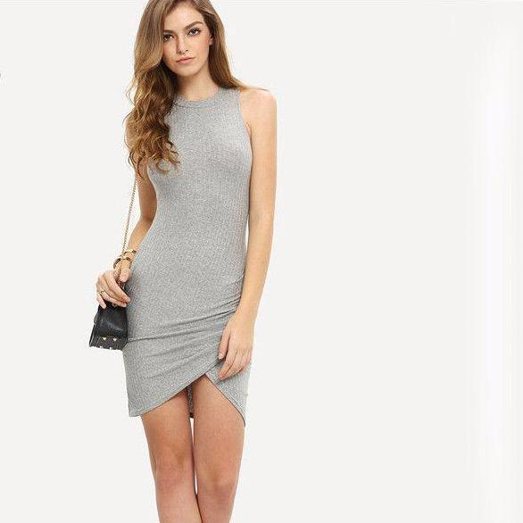 Ladies Office Grey Crew Neck Sleeveless Ribbed Wrap Short Dress Summer Sexy Round Neck Sheath Mini Dress-Dress-SheSimplyShops