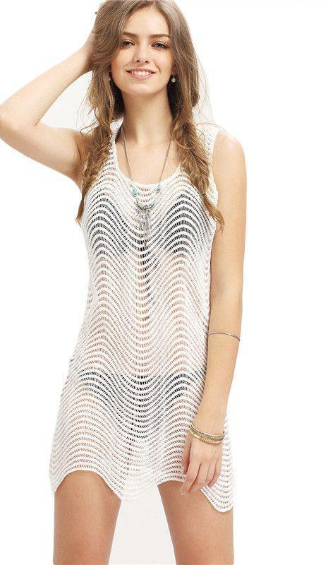 COLROVIE Female Sexy Beach Wear White Sleeveless Wave Striped Tank Dress Summer Round Neck Bodycon Mini Dress-Dress-SheSimplyShops