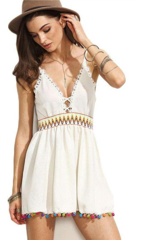 COLROVIE White Pompom Hem Backless Spaghetti Strap A Line Dress Women Summer V Neck Sleeveless V Neck Mini Dress-Dress-SheSimplyShops