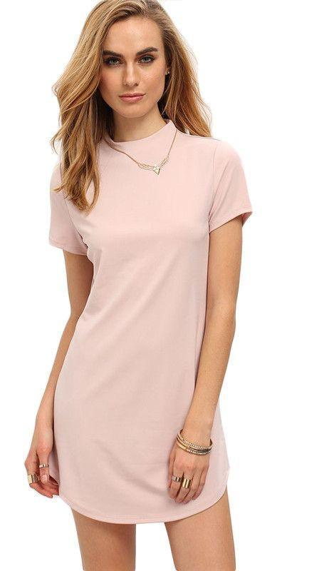 Mock Neck Dolphin Hem Mini Dress-Dress-SheSimplyShops