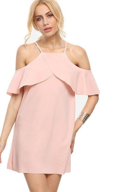 COLROVIE Summer Style New Pink Cold Shoulder Ruffle Sleeve Mini Dress Sleeveless Plain Straight Short Dress-Dress-SheSimplyShops