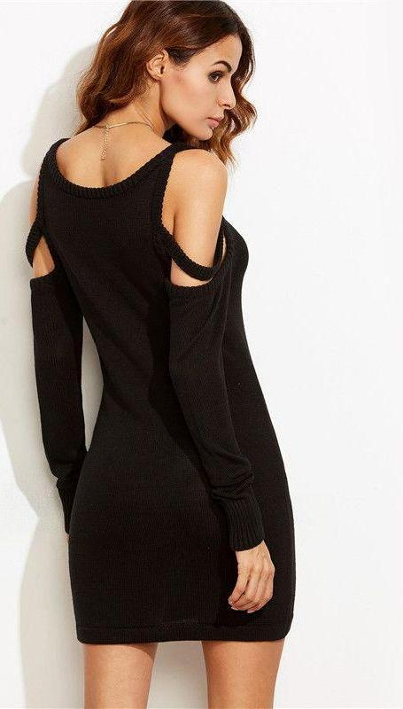 COLROVIE Black Strappy Cold Shoulder Sheath Mini Sweater Dress Fall Women Round Neck Long Sleeve Bodycon Dress-Dress-SheSimplyShops