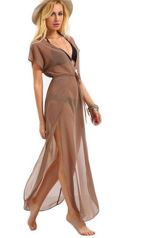 COLROVIE Ladies Brown Drawstring Waist V Neck Split Dresses Summer Beach Wear Sexy Short Sleeve Long Maxi Dress-Dress-SheSimplyShops