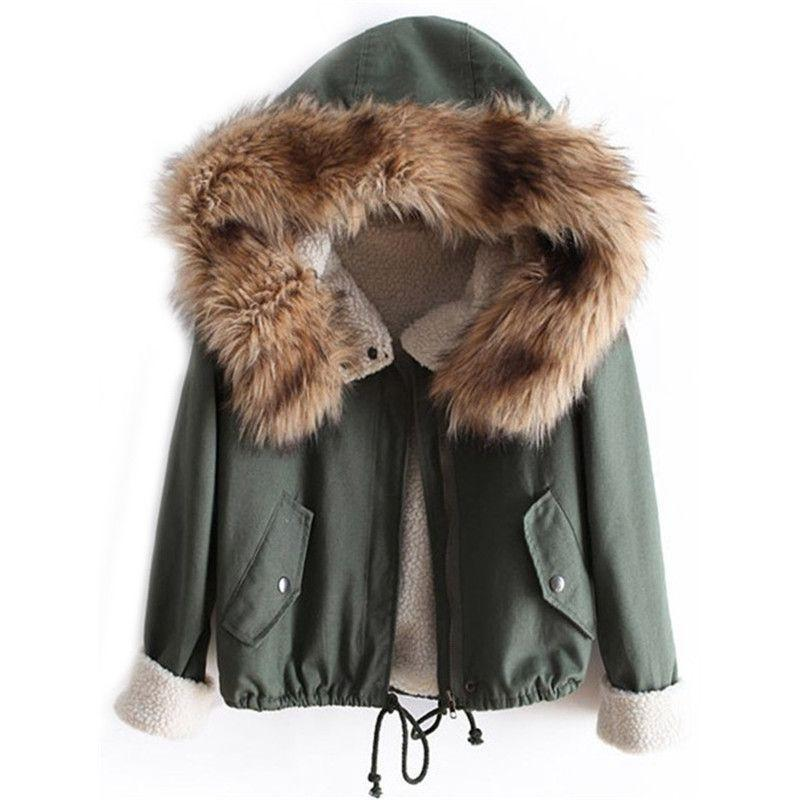 COLROVIE Newest Autumn Fashion Top Faux Fur Green Long Sleeve High Street Women Casual Hooded Drawstring Coat-Coats & Jackets-SheSimplyShops