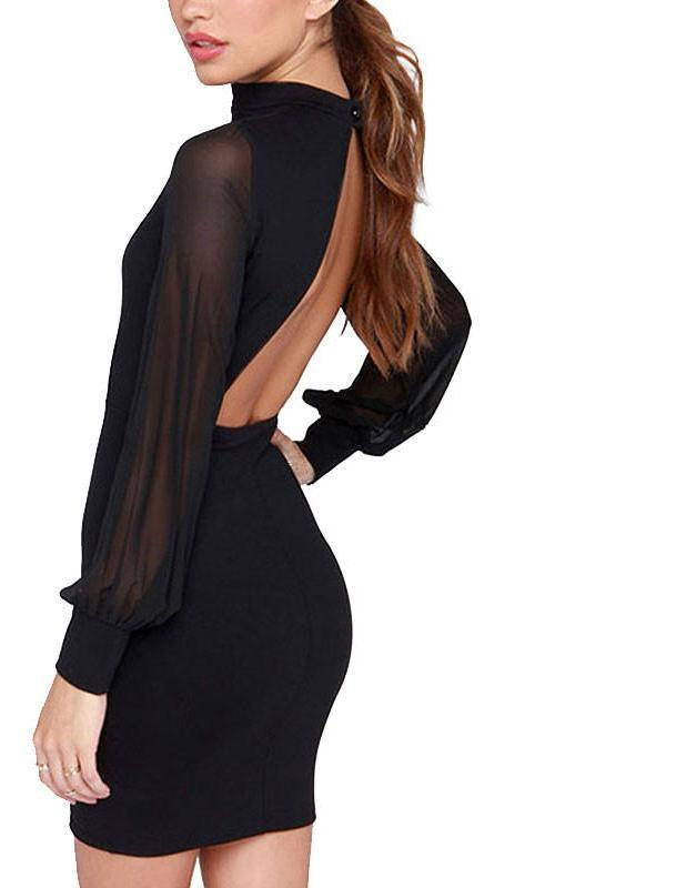 Summer Solid Full Mesh Sleeve Women Dresses Off Back Sexy Sheath Stand Collar Mini Ladies Dress-Dress-SheSimplyShops