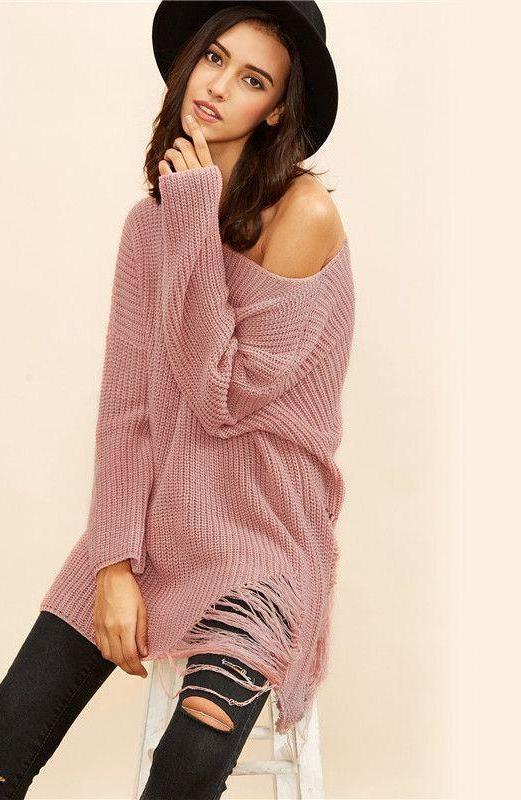 COLROVIE Pink Boat Neck Drop Shoulder Ripped Sweater Women Loose Tops Casual Knitwear Style Fall Sweater-SWEATERS + CARDIGANS-SheSimplyShops