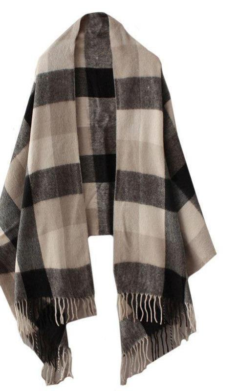 COLROVIE New Autumn Brand Scarf Women Fashion Female Shawls and Scarves Casual Black Beige Plaid Tassel Scarves-SCARVES-SheSimplyShops
