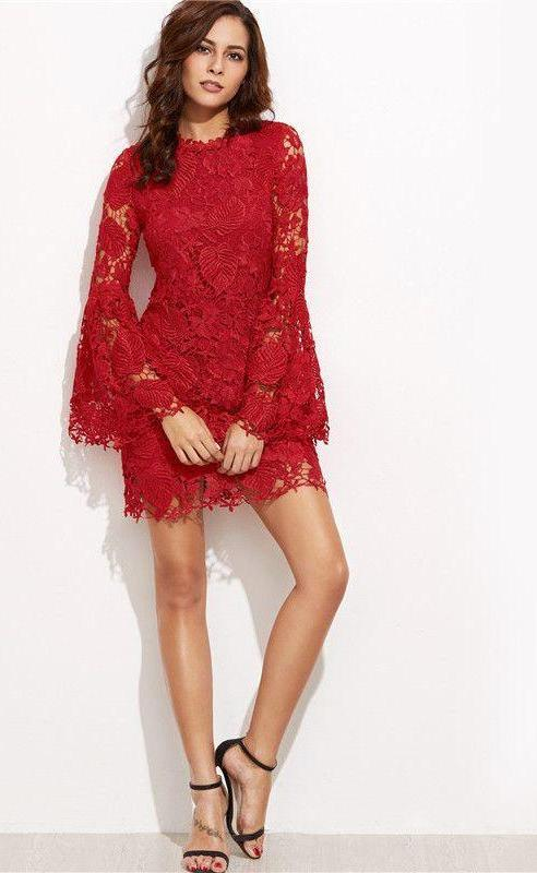 European Style Embroidered Lace Overlay Bell Sleeve Dress-Dress-SheSimplyShops