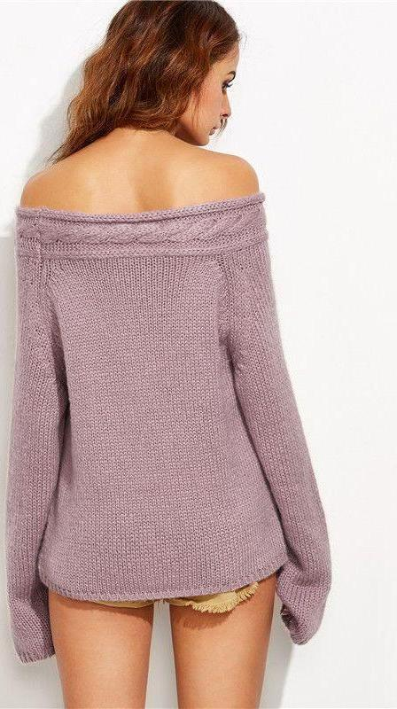 COLROVIE Purple Cable Knit Off The Shoulder Long Sleeve Pullovers Fall Ladies Sexy Wear Oversized Sweater-SWEATERS + CARDIGANS-SheSimplyShops