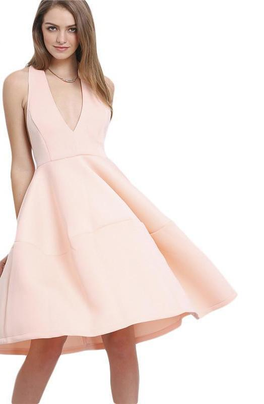 New Arrivals Women Summer Style Sexy Dresses Ladies Pink Sleeveless A Line Deep V Neck Backless Flare Midi Dress-Dress-SheSimplyShops