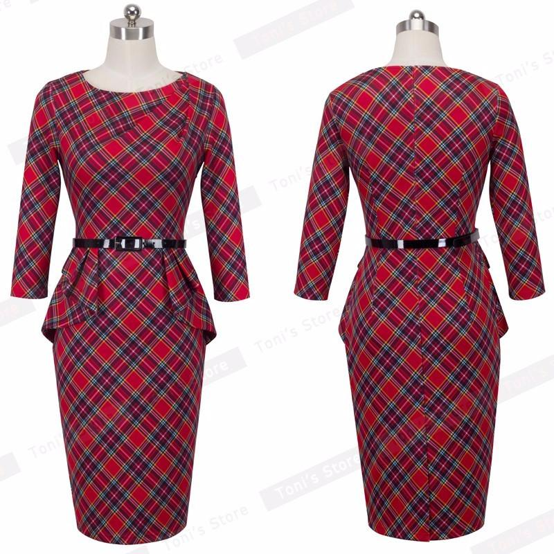Lady Vintage Tartan Red New Year Fitted Dress O Neck 3/4 Sleeve Belt Peplum Casual Zipper Pencil Dress B267-Dress-SheSimplyShops
