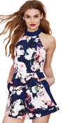 HDY Haoduoyi Fashion Multi Women Playsuits Floral Print Sleeveless Crew Neck Backless Rompers Women Slim Casual Basic Playsuits-ROMPERS & JUMPSUITS-SheSimplyShops