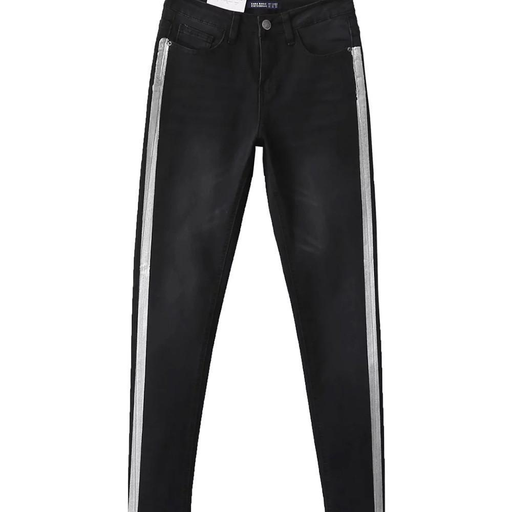HDY Haoduoyi Fashion Black Stripe Women Pencil Pants Mid Waist Skinny Pants Women Double Pockets Brief Casual Trousers-PANTS-SheSimplyShops