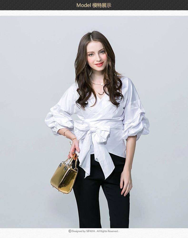 Spring New Women Blouse Sexy Deep V Neck Women Top tees With Belt Polka Dot Print Women Shirt-Blouse-SheSimplyShops