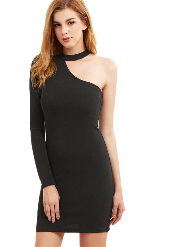 SheIn Bodycon Dress Women's Fashion Long Sleeve Party Dress Ladies Spring Black Halter One Shoulder Sexy Mini Dress-Dress-SheSimplyShops