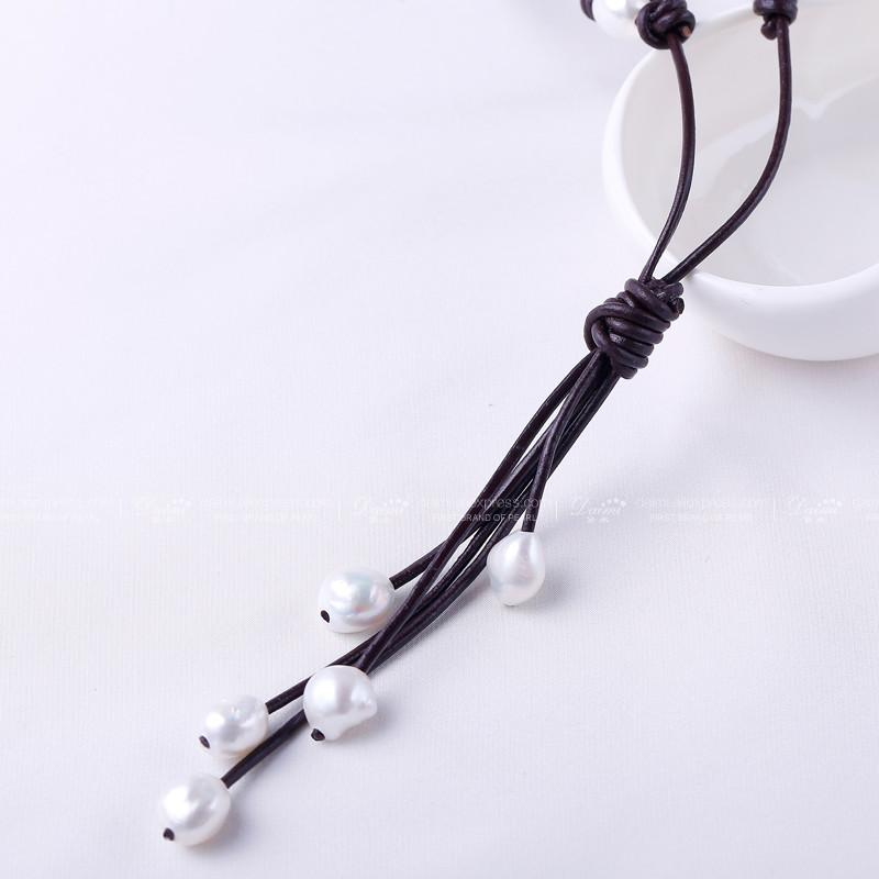 White Baroque Pearl Long Necklace adjustable 60-110cm Leather New Sweater Chain-NECKLACES-SheSimplyShops