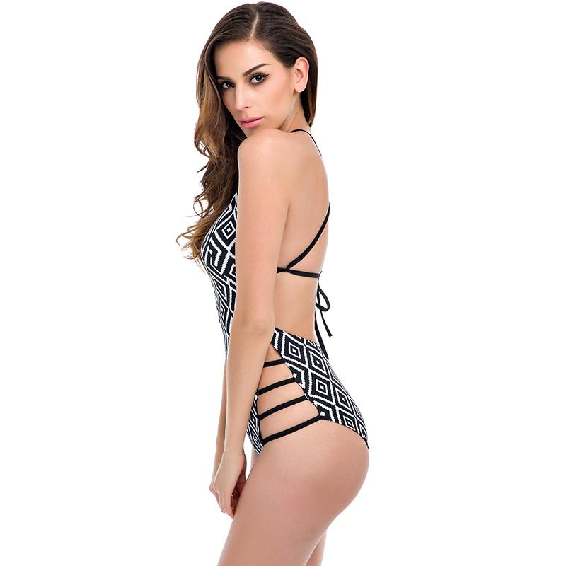 Sexy High Cut One Piece Vintage Retro Bathing Suits-Tops-SheSimplyShops