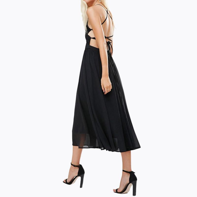 HDY Haoduoyi Summer Women Solid Boheniman Dress Holiday Beach Dress Hollow Out Spaghetti Strap Dress Chiffon Midi Vestidos-Dress-SheSimplyShops