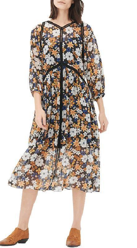 HDY Haoduoyi Fashion Women Floral Print A-line Dress Lantern Long Sleeve Casual Seam Contrast Midi Beach Casual Dress-Dress-SheSimplyShops