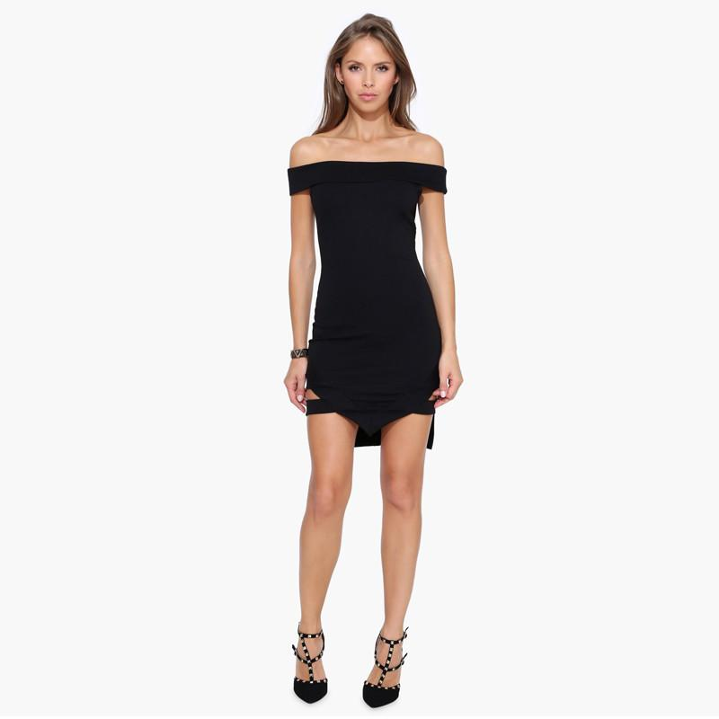 HDY Haoduoyi Solid Black Fashion Mini Dress Women Short Sleeve Off Shoulder Female Dress Slim Backless Hollow Party Dress-Dress-SheSimplyShops