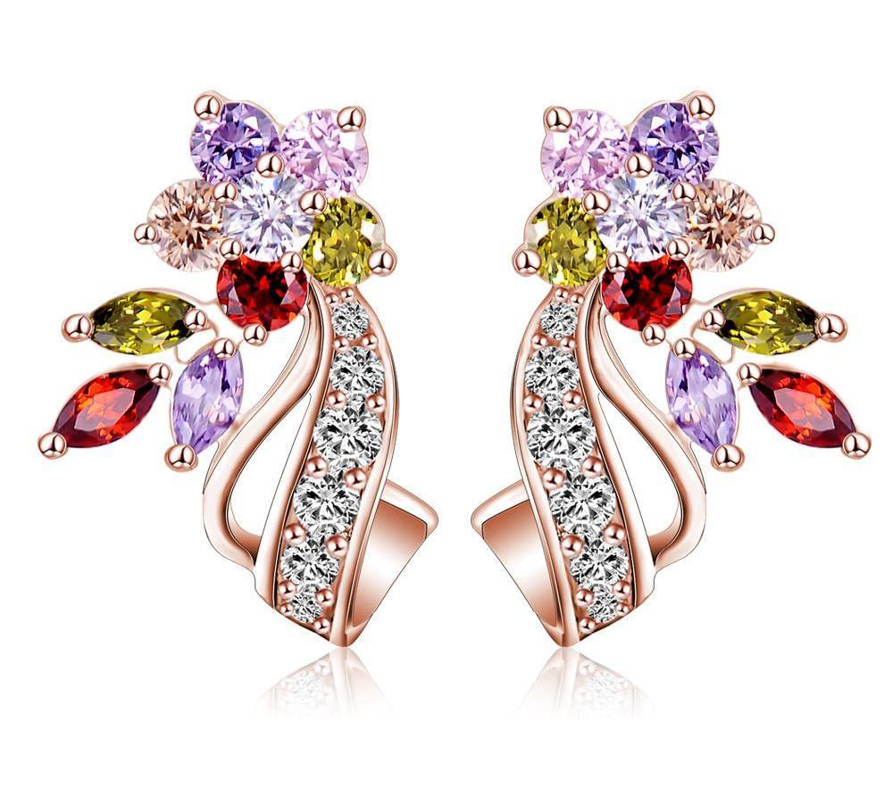 LZESHINE New Flower Bridal Wedding Earrings For Women Silver Plated Multicolor/Clear AAA Zirconia Stone Jewelry CER0201-EARRINGS-SheSimplyShops