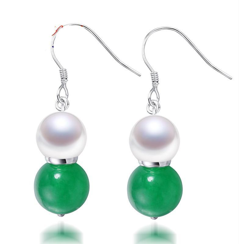 White Freshwater Pearl & Agate/Jade Drop Earrings-EARRINGS-SheSimplyShops