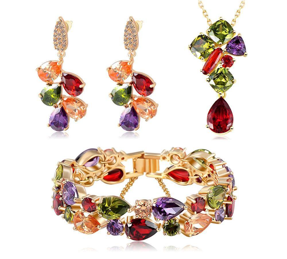 Luxury Pendant/ Earrings/Bracelet Jewelry Set Gold Plated with Colorful Zirconia Classic Bridal Jewelry Set For Women-EARRINGS-SheSimplyShops