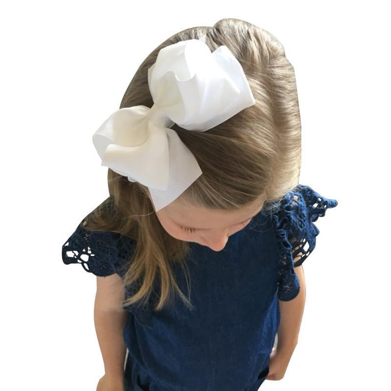 "20 Pcs lot 5"" Girls Boutique Hair Accessories Fashion Solid Handmade Ribbon Hair Bow With Clip For Baby Kids Hair Accessories-ACCESSORIES-SheSimplyShops"