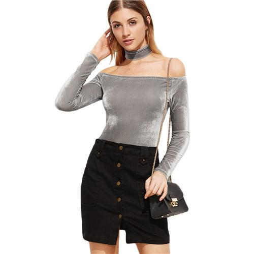 7ce68e05b5 SheIn One Piece Bodysuits for Women Sexy Women Rompers Solid Bodysuit  Overalls Grey Off The Shoulder