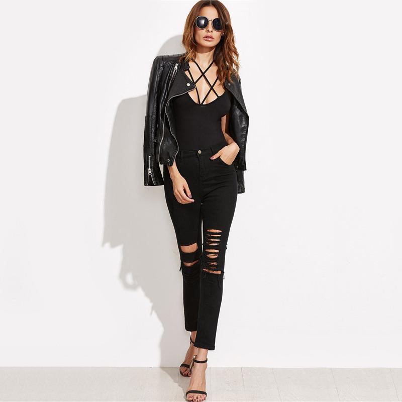 SheIn Korean Fashion Style New Arrival Ladies Sexy Bodysuits Women Brand Black Crisscross Sleeveless Cami Bodysuit-ROMPERS & JUMPSUITS-SheSimplyShops