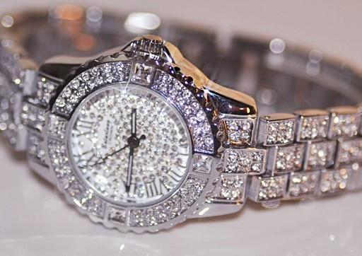 New Women Rhinestone Watches Lady Dress Women watch Diamond Luxury brand Bracelet Wristwatch ladies Crystal Quartz Clocks-Dress-SheSimplyShops