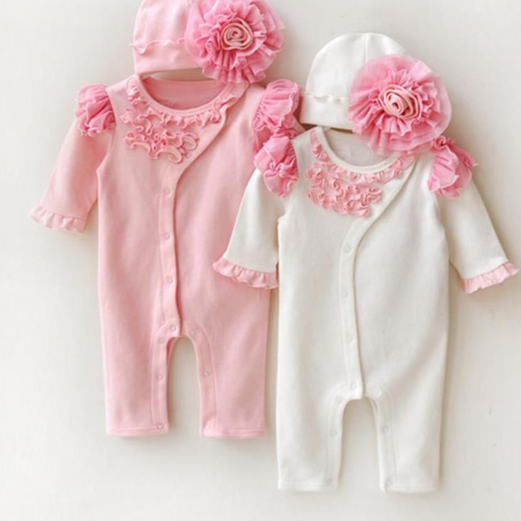 Newborn Princess Style Newborn Baby Girl Clothes Kids Birthday Dress Girls Lace Rompers+Hats Baby Clothing Sets Infant Jumpsuit-Dress-SheSimplyShops